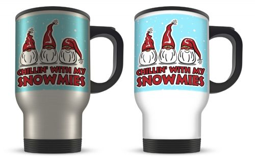 14oz Chillin' With My Snowmies Funny Christmas Novelty Gift Aluminium Travel Mug
